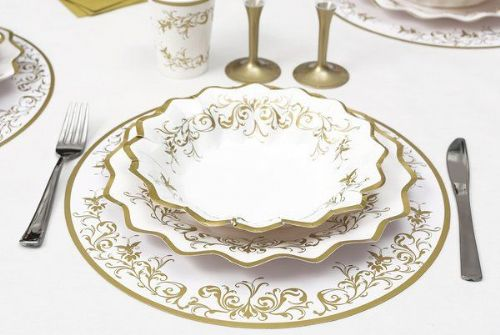 Imperial Gold Place Mats Round 6's Wedding Anniversary Disposable Tableware